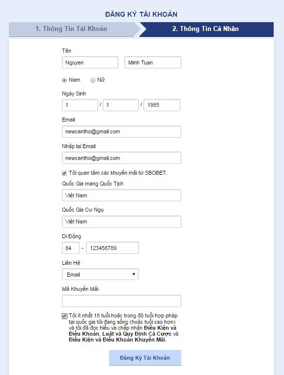 đăng ký tài khoản link vao sbobet mới nhất